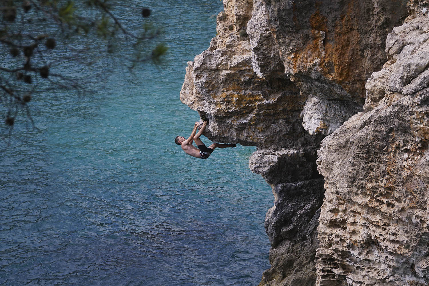 mallorca deep water solo rock climbing graphic design poster