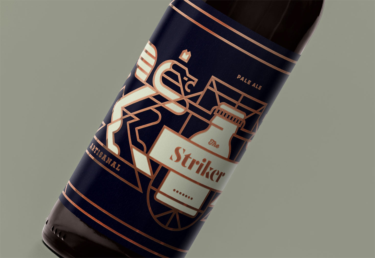 detail of beer bottle design