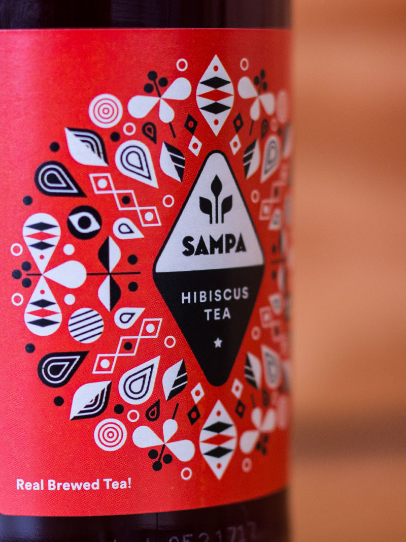 detail of iced tea bottle design