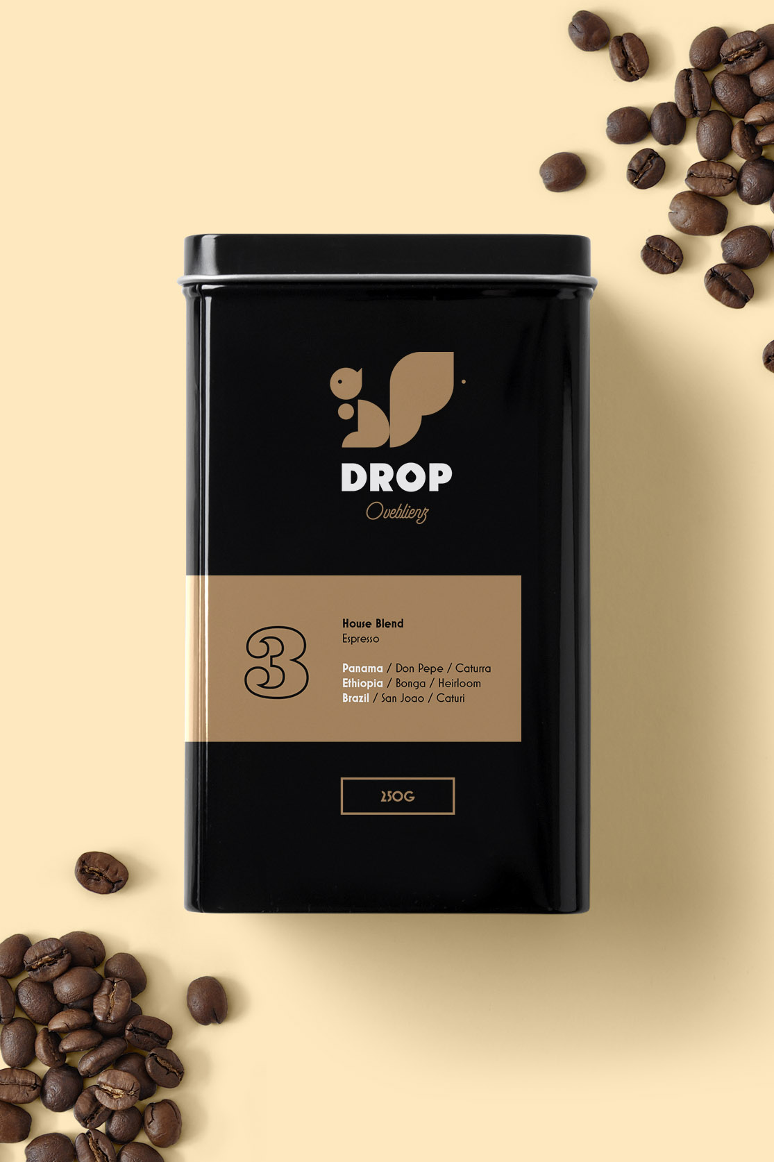 enamel box for coffee beans - graphic branding design for drop coffee roasters