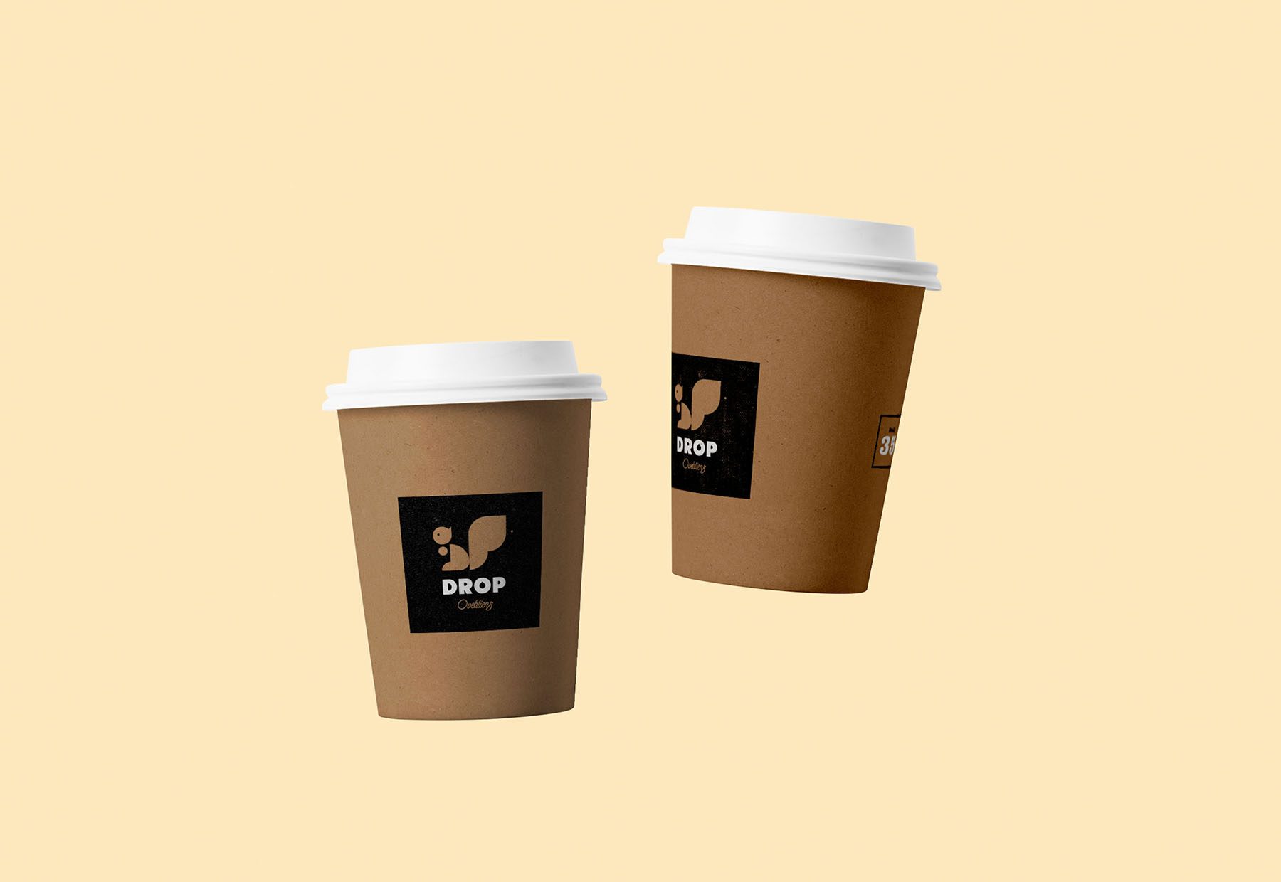 drop coffee branding graphic design of the cardboard drinking cups