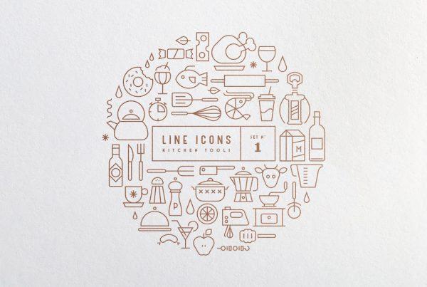 free line icons icon set kitchen tools gravual