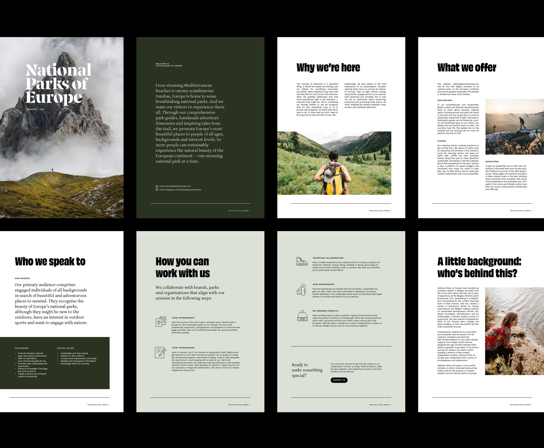 National Parks of Europe mediakit whitepaper design