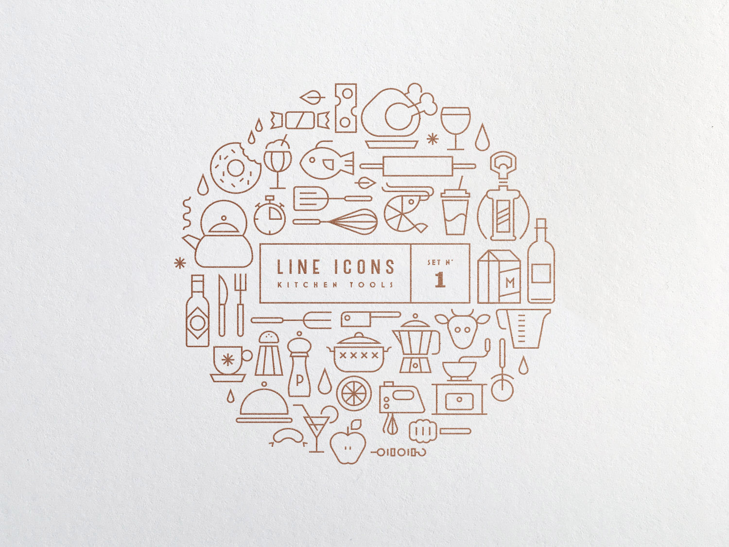 free line icons icon set kitchen tools gravual